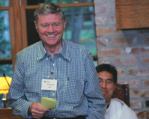 Legatus founder Tom Monaghan speaks to the Baton Rouge Chapter at its June 24 summer social
