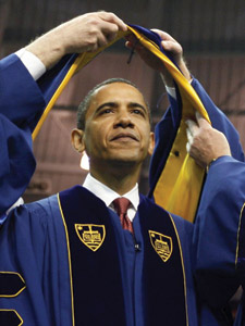 President Obama receives honors from Notre Dame on May 17
