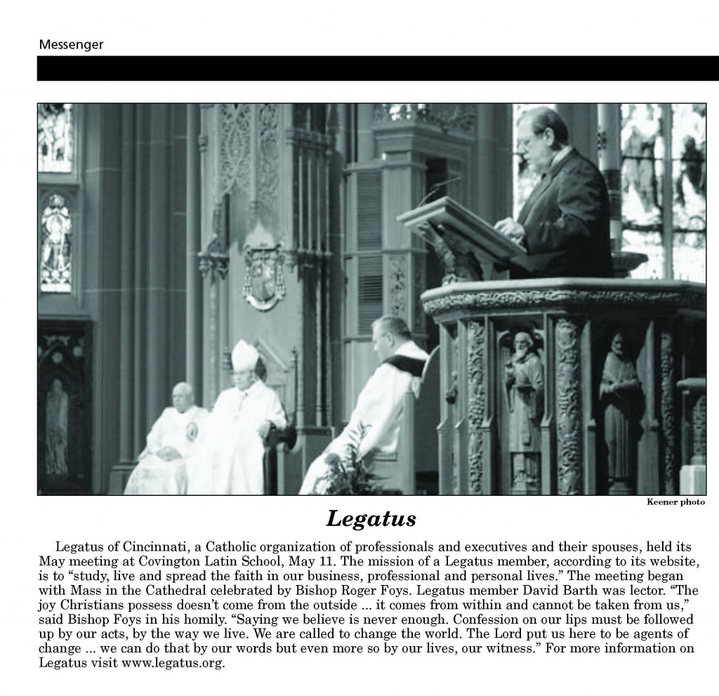 Courtesy of The Messenger, newspaper of the Diocese of Covington, Ky. Published May 21, 2010.