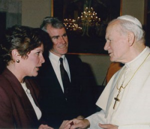 Michael and Rose Ann Schwartz meet Pope John Paul II at the Vatican in March of 1991