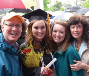 L-R: Allen Hunt, daughters Grin (graduating from GATech) and Sarah Ann, wife Anita