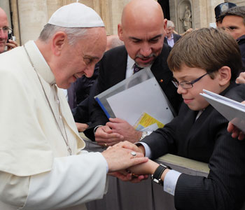 Logan Radick greets the Holy Father on Oct. 9