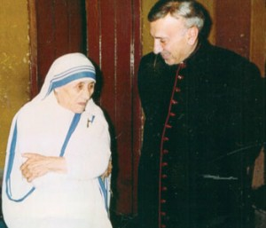 Monsignor John Esseff with Mother Teresa in the 1980s