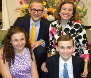 David and Margaret Bereit pose with their children at Easter 2014