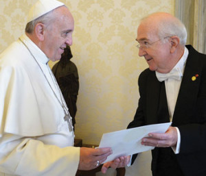 U.S. Ambassador to the Holy See Kenneth Hackett presents his credentials to Pope Francis on Oct. 21, 2013.