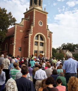 Three thousand gather at St. Francis of Assisi Parish in Oklahoma City to pray on Sept. 21, 2014, while a black mass took place three miles away