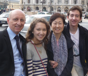 Henry and Sabina Cappello pose with their children while visiting Paris