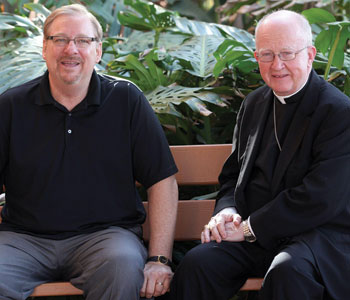 Rick Warren and Bishop Kevin Vann pose together at Saddleback Church on Feb. 24, 2014 (AP Photo/Nick Ut )