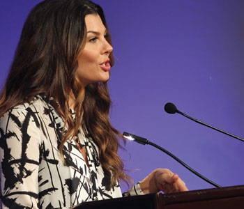 Actress and former Miss USA Ali Landry addresses Legates on Jan. 30. She served as the Summit's master of ceremonies.