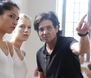 Filmmaker Michael Damian instructs Sonoya Mizuno (left) and Keenan Kampa (center)
