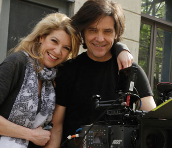 Catholic filmmakers Michael and Janeen Damian on the set of High Strung