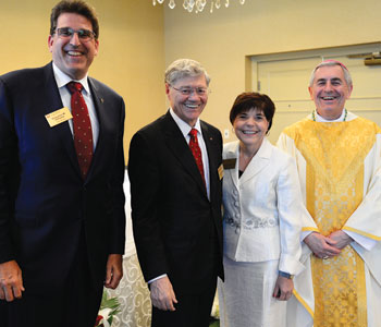 L-R: John DiSanto, Tom Monaghan, Maria DiSanto, Bishop Ronald Gainer