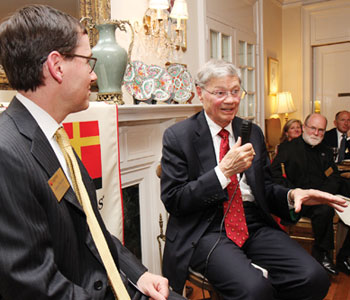"Legatus founder Tom Monaghan makes a point during a ""fireside chat"" with Legate Jason Beckert"