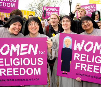 The Little Sisters of the Poor and their supporters rally in front of the U.S. Supreme Court