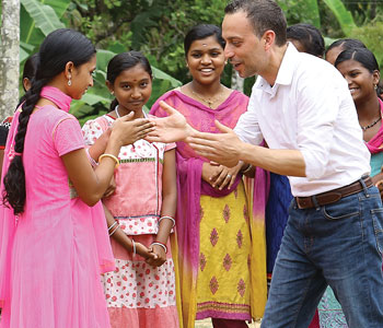 Gabriele Delmonaco interacts with children at Girls' Town in India earlier this year
